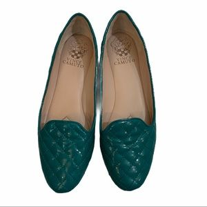 Vince Camuto green quilted Lilliana flats